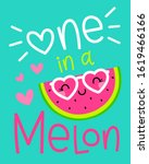 cute watermelon cartoon... | Shutterstock .eps vector #1619466166