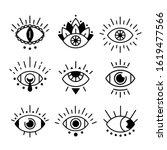 eye doodle symbols. hand drawn... | Shutterstock .eps vector #1619477566