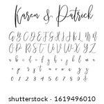 script brush font alphabet... | Shutterstock .eps vector #1619496010