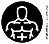 Bodybuilder vector symbol over black circle