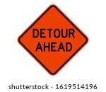 isolated road sign for detour... | Shutterstock .eps vector #1619514196