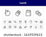lunch line icon set. vegan... | Shutterstock .eps vector #1619529613