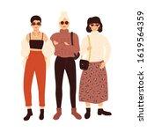 three beautiful young women.... | Shutterstock .eps vector #1619564359
