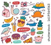set of kawaii icons  cute... | Shutterstock .eps vector #1619564563