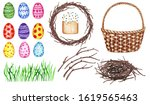 watercolor set with easter eggs ...   Shutterstock . vector #1619565463