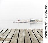 Norway Cottage On Winter Coast...