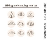hiking and camping tent hand... | Shutterstock .eps vector #1619585800