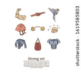 strong hand drawn doodle set.... | Shutterstock .eps vector #1619585803