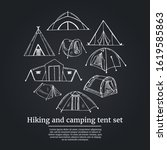 hiking and camping tent set.... | Shutterstock .eps vector #1619585863