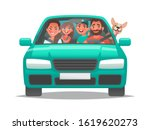 happy family rides in a car.... | Shutterstock .eps vector #1619620273