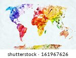 Watercolor World Map. Colorful...