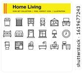 home living icons set  design...