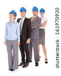 group of happy architects over... | Shutterstock . vector #161970920