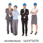 group of happy architects with... | Shutterstock . vector #161971070