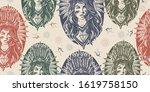 native american woman. seamless ... | Shutterstock .eps vector #1619758150