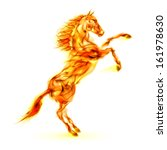 Raster version. Fire horse rearing up. Illustration on white background. - stock photo