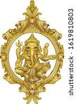 golden ganesha hindu god of... | Shutterstock .eps vector #1619810803