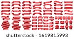 red ribbon set of various... | Shutterstock .eps vector #1619815993