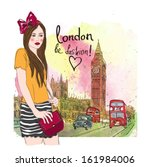 fashion girl in london.vector... | Shutterstock .eps vector #161984006