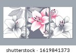 set of 3 canvases for wall... | Shutterstock .eps vector #1619841373