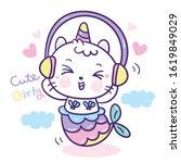 cute unicorn cat pony vector ... | Shutterstock .eps vector #1619849029