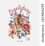 legendary slogan with tiger on... | Shutterstock .eps vector #1619856259