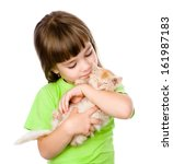 Stock photo little girl hugging kitten isolated on white background 161987183