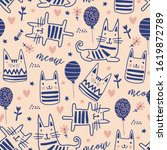 Cute Cats Doodle Seamless...