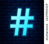 glowing neon hashtag icon...
