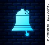 glowing neon bell icon isolated ...