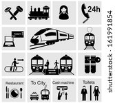 People at the railway station - set of vector icons. Black and white images. - stock vector