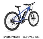 Small photo of blue modern mid drive motor e bike pedelec with electric engine middle mount. battery powered ebike isolated on white background. Innovation transportation concept.
