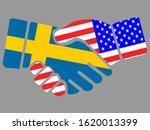Sweden And Usa Flags Handshake...