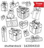 vector doodle set  red ribbon ...   Shutterstock .eps vector #162004310