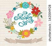greeting card with floral frame ... | Shutterstock .eps vector #162004928