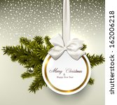 christmas gift card with ribbon ... | Shutterstock .eps vector #162006218