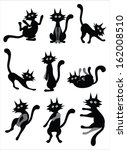 crazy black cat. | Shutterstock .eps vector #162008510