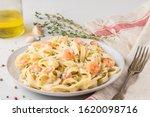 Pasta With Shrimps  Creamy...
