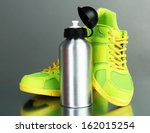 sports bottle and sneakers on... | Shutterstock . vector #162015254