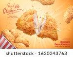 yummy fired chicken bucket ads...   Shutterstock .eps vector #1620243763