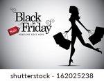 Elegant Shopping Woman Black...