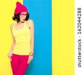 bright portrait of a stylish... | Shutterstock . vector #162044288