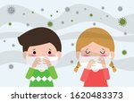 kids in masks because of fine... | Shutterstock .eps vector #1620483373