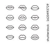 lips line icon set in trendy...