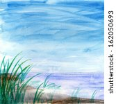 watercolor lake and grass... | Shutterstock . vector #162050693