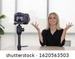 vlogger  woman  recording video ... | Shutterstock . vector #1620563503