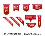 red ribbon promotional labels... | Shutterstock .eps vector #1620565120