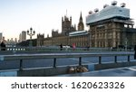 Small photo of Some inconsiderate people threw rubbish after eating their burger meals on Westminster bridge, London, UK on 19-Jan-2020