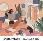 happy cute girl have breakfast...   Shutterstock .eps vector #1620665509