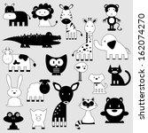 cute cartoon animals set wild... | Shutterstock .eps vector #162074270